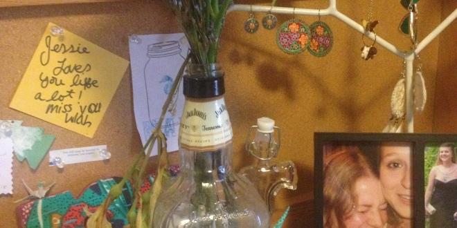 Spotted Liquor Bottle Vase Upcycles